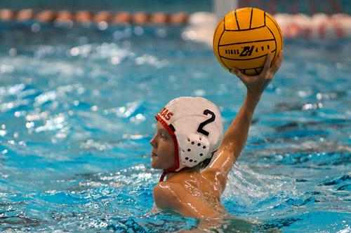 boy playing water polo, about to throw ball